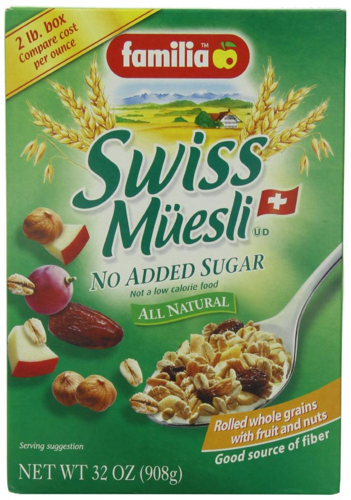 Swiss Muesli No sugar added high fiber cereal